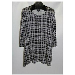 Alfani Women's Plus Size 2X Black White Grid Woven